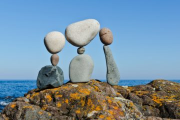 """"""" We Are Family """" - temprary rock sculpture by Peter Juhl"""